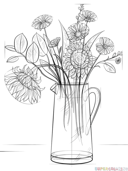how to draw bouquet of flowers bouquet of flowers coloring page in 2020 flower drawing of how to flowers bouquet draw