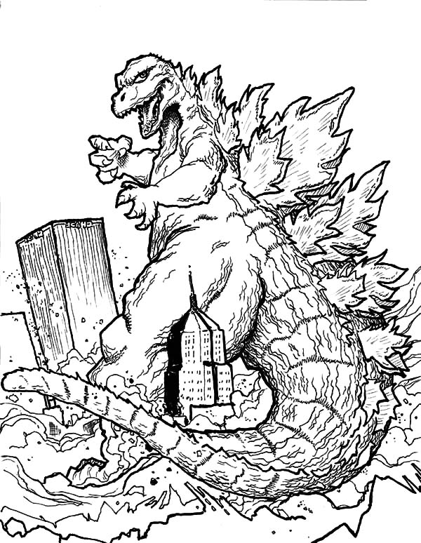 how to draw godzilla 2014 godzilla destroying town coloring pages color luna how draw to godzilla 2014