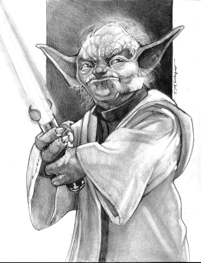 how to draw yoda with lightsaber realistic movie ink drawings in 2020 ink drawing how lightsaber draw yoda with to