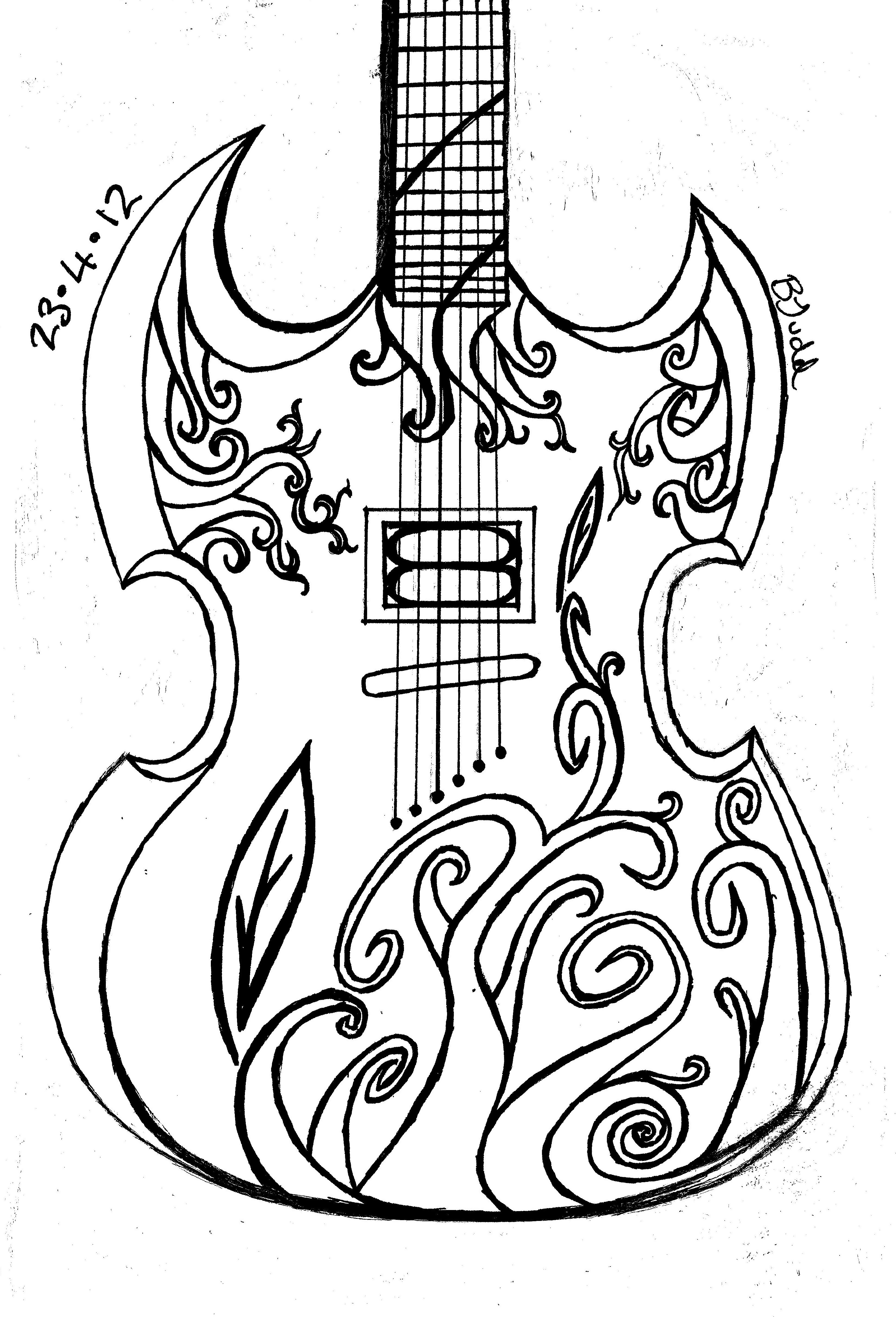how to sketch a guitar 18 best kleurplaten images on pinterest coloring books to guitar sketch how a