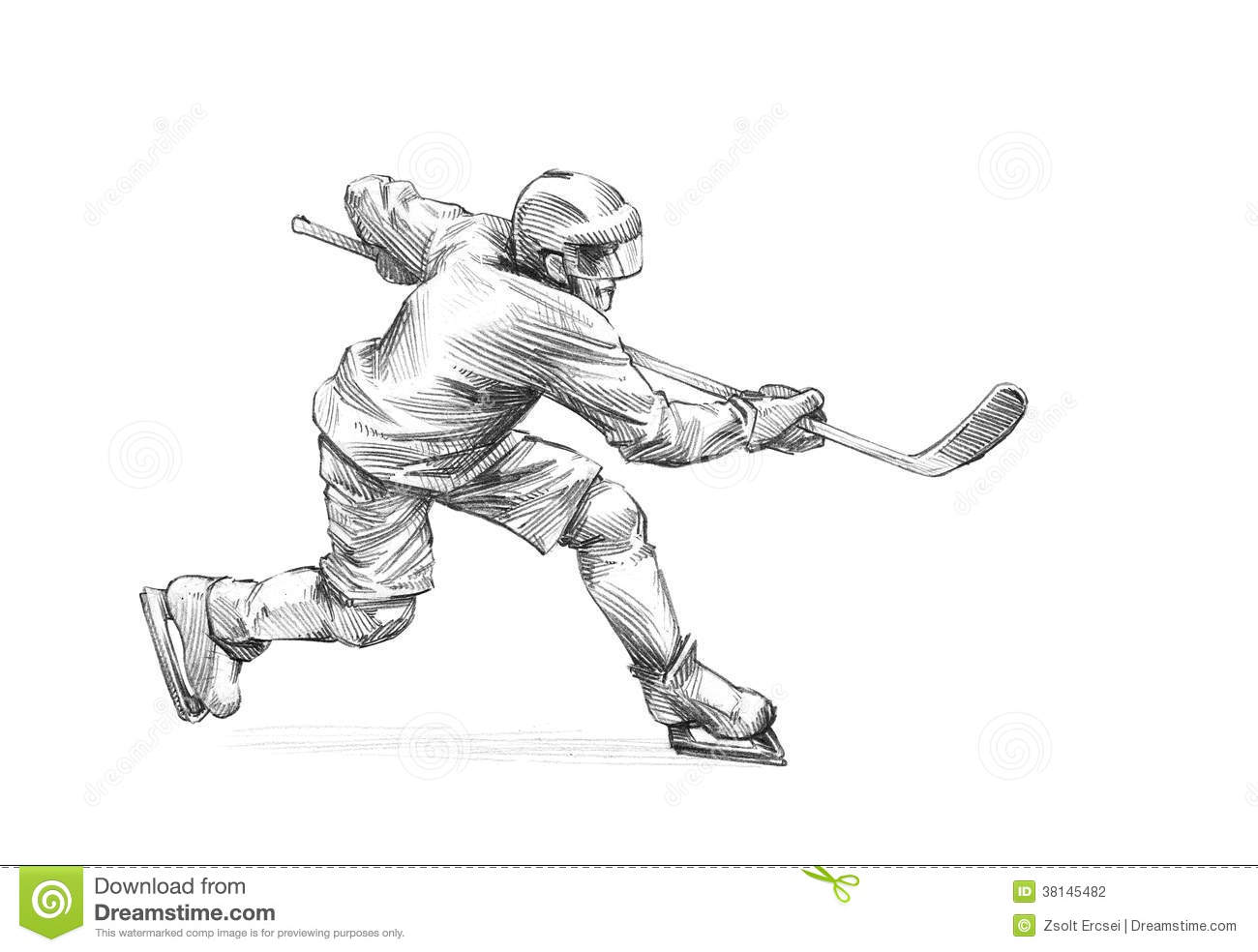 ice hockey player drawing hand drawn sketch pencil illustration of an ice hockey ice drawing player hockey