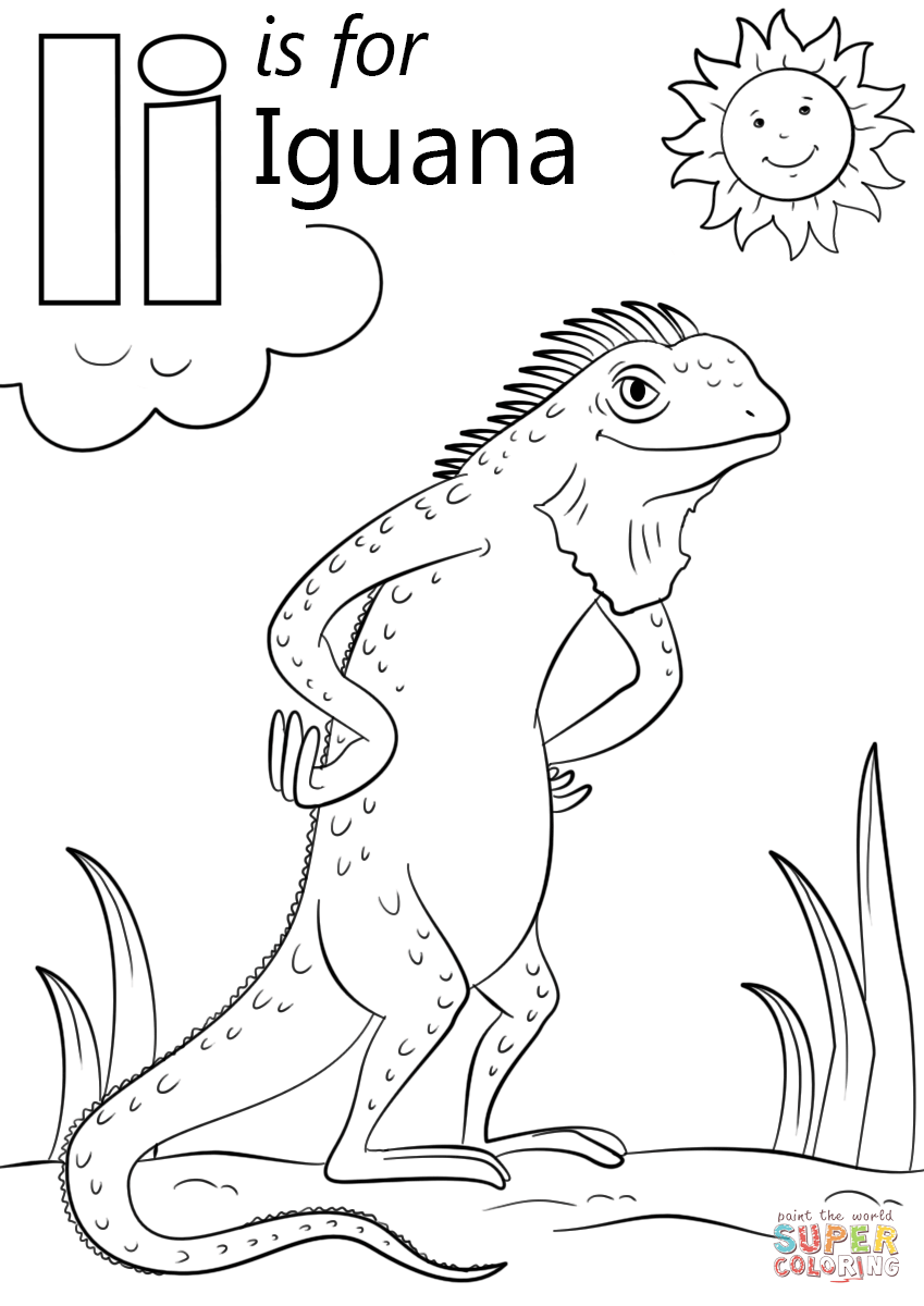 iguana coloring page letter i is for iguana super coloring abc coloring iguana coloring page