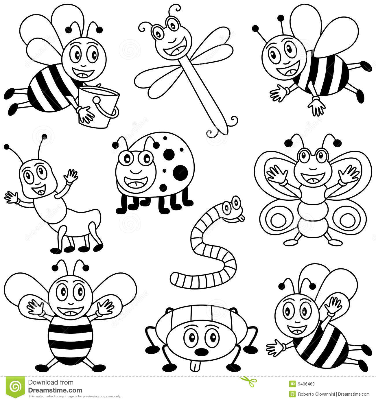 insects for coloring bugs coloring page stock illustration illustration of coloring insects for
