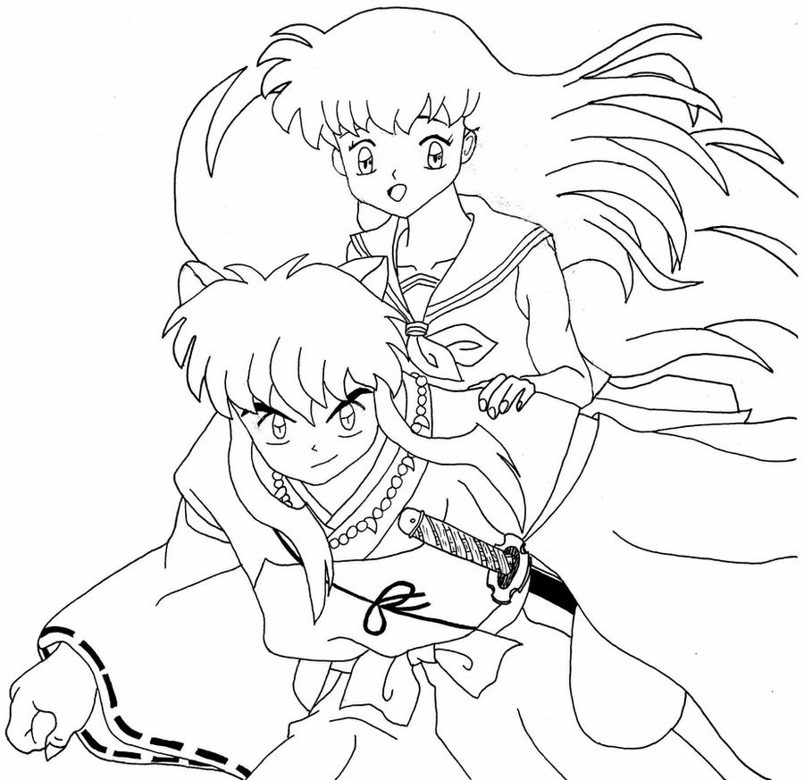inuyasha and kagome coloring pages inuyasha and kagome lineart by bodici22 on deviantart kagome inuyasha pages and coloring