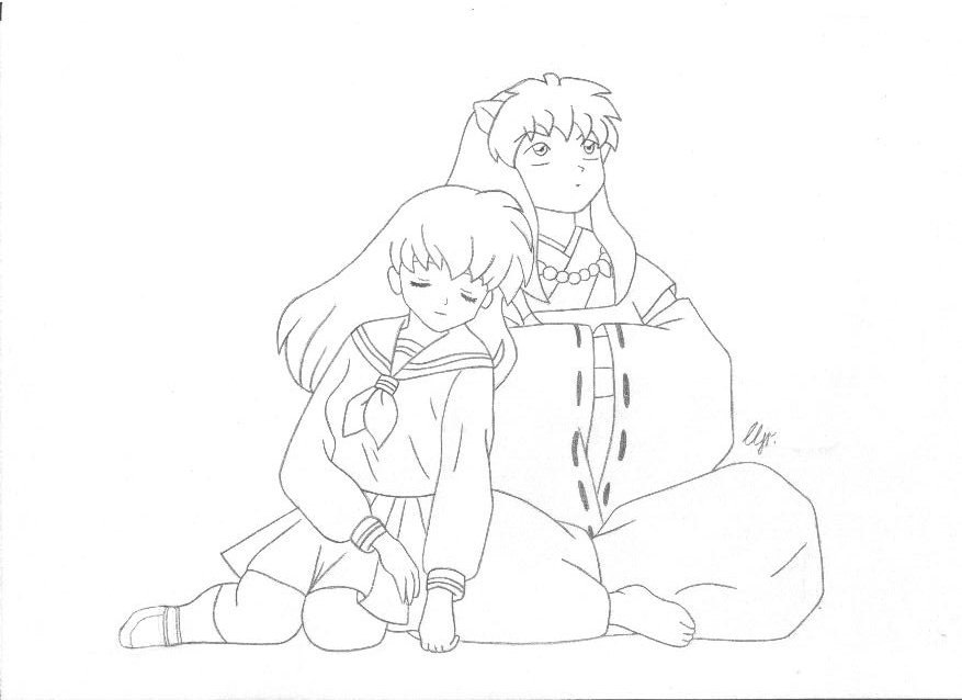 inuyasha and kagome coloring pages inuyasha e kagome lineart by almachiaraalex on deviantart and inuyasha kagome coloring pages