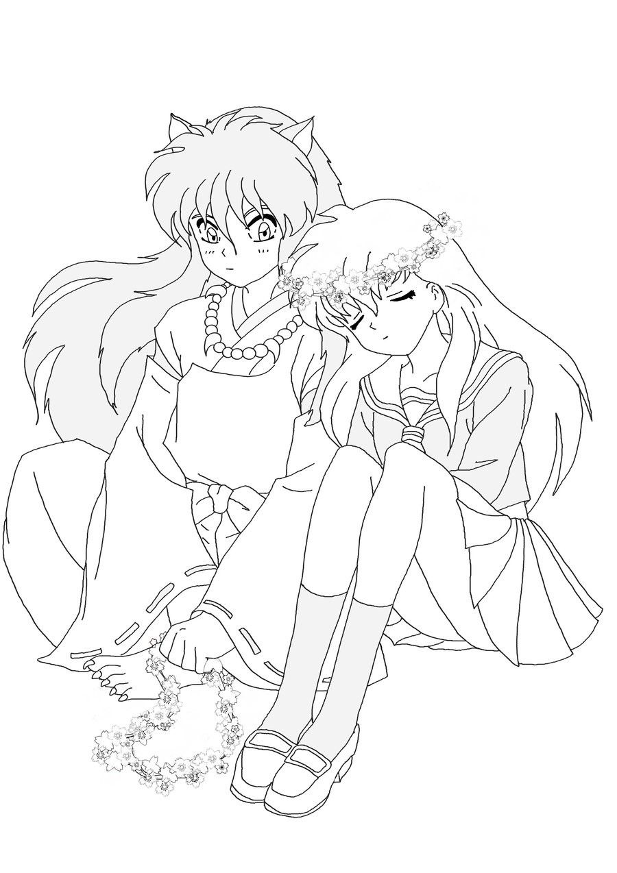 inuyasha and kagome coloring pages iy and kagome lineart by desertviper on deviantart pages kagome coloring and inuyasha