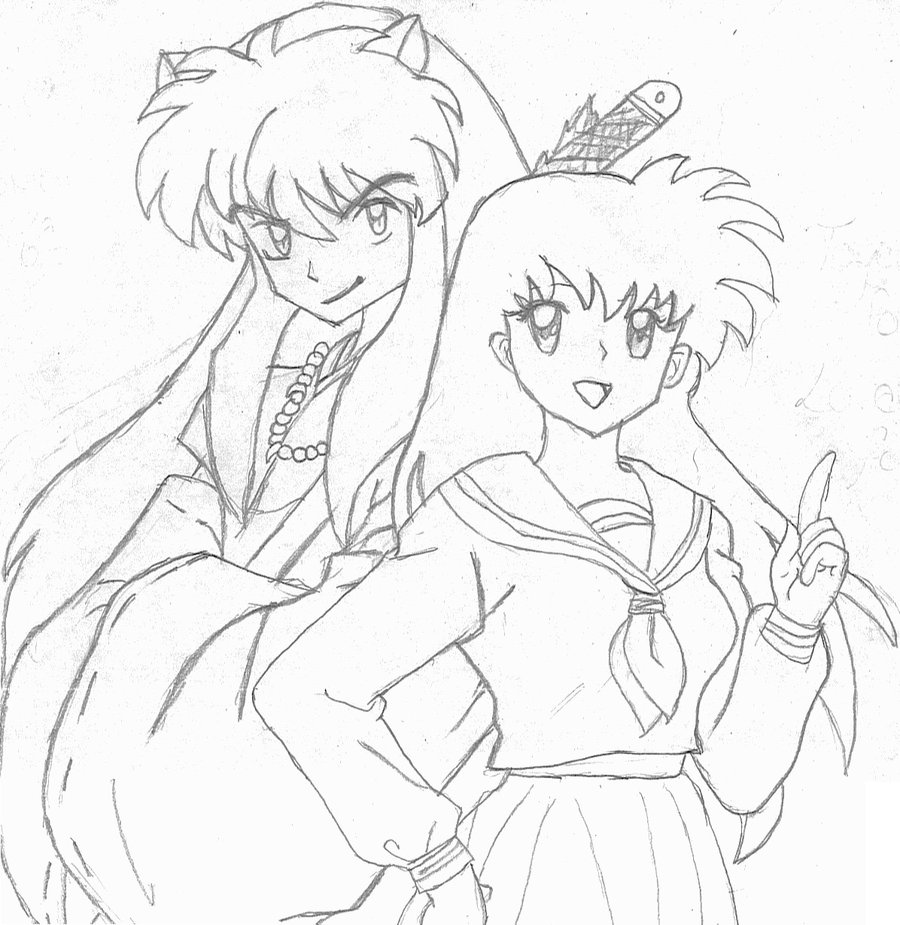 inuyasha and kagome coloring pages kagome and inuyasha lineart by toatoneart on deviantart kagome pages and coloring inuyasha