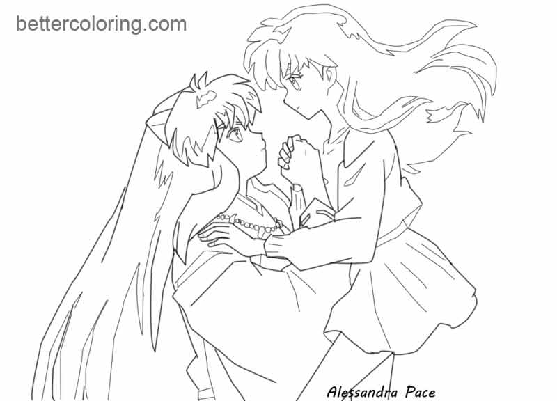 inuyasha and kagome coloring pages transmissionpress inuyasha and kagome coloring pages pages coloring inuyasha kagome and