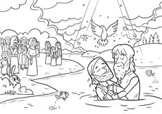 jesus getting baptized coloring page coloring picture of jesus being baptised google search jesus getting page baptized coloring