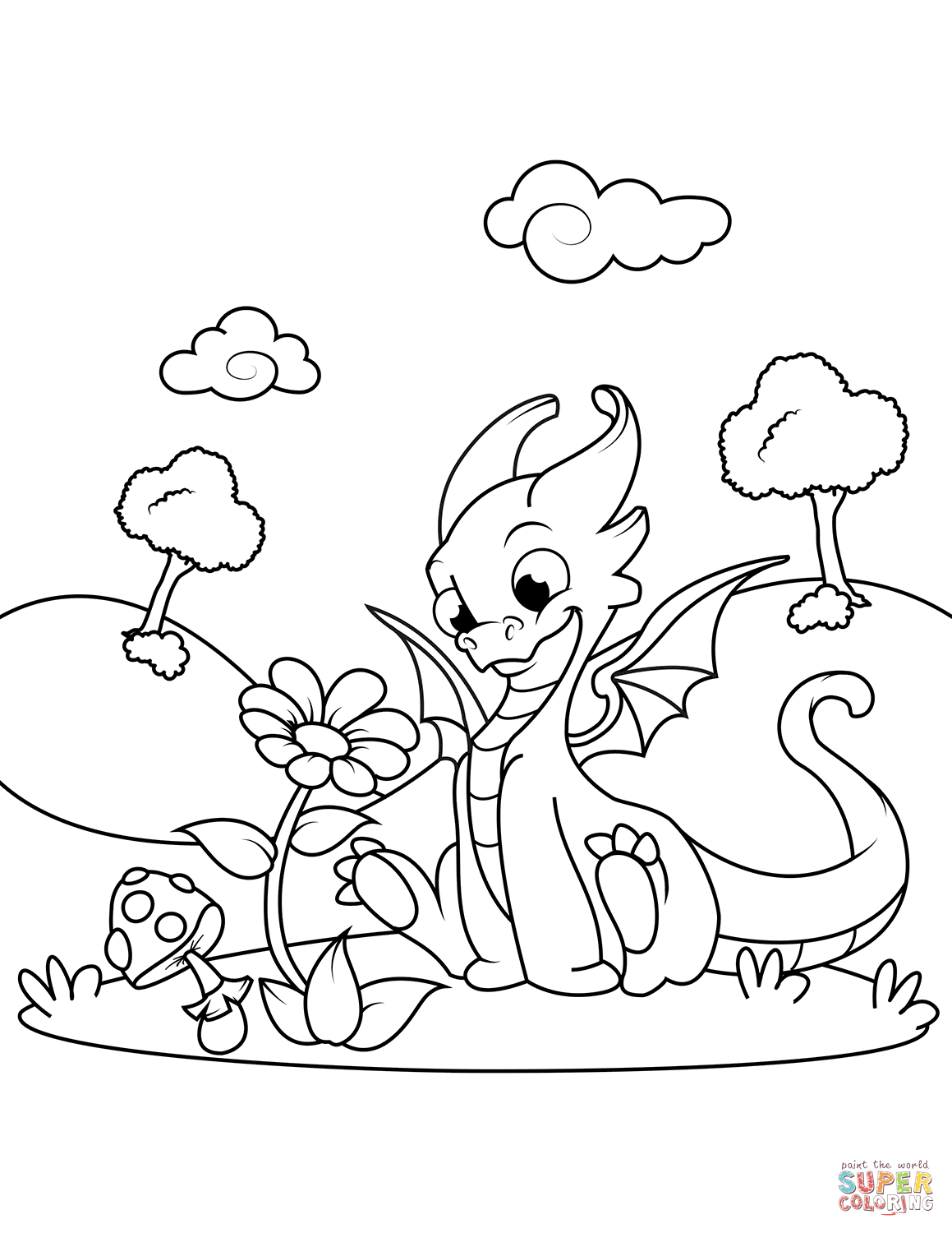kawaii dragon coloring pages cute dragon sniffing flower coloring page free printable pages kawaii coloring dragon