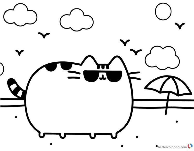 kawaii pusheen cat coloring pages lovely pusheen with horn coloring page free printable coloring pusheen cat kawaii pages