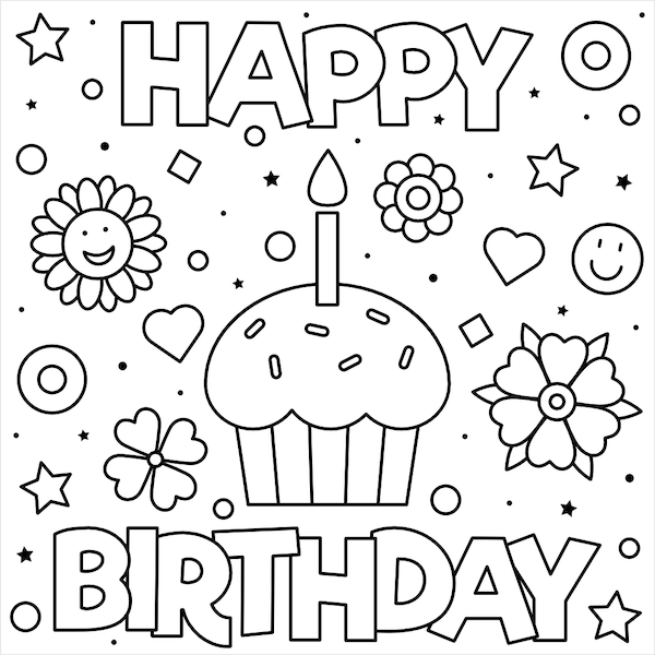 kids coloring birthday card 55 best happy birthday coloring pages free printable pdfs kids card coloring birthday