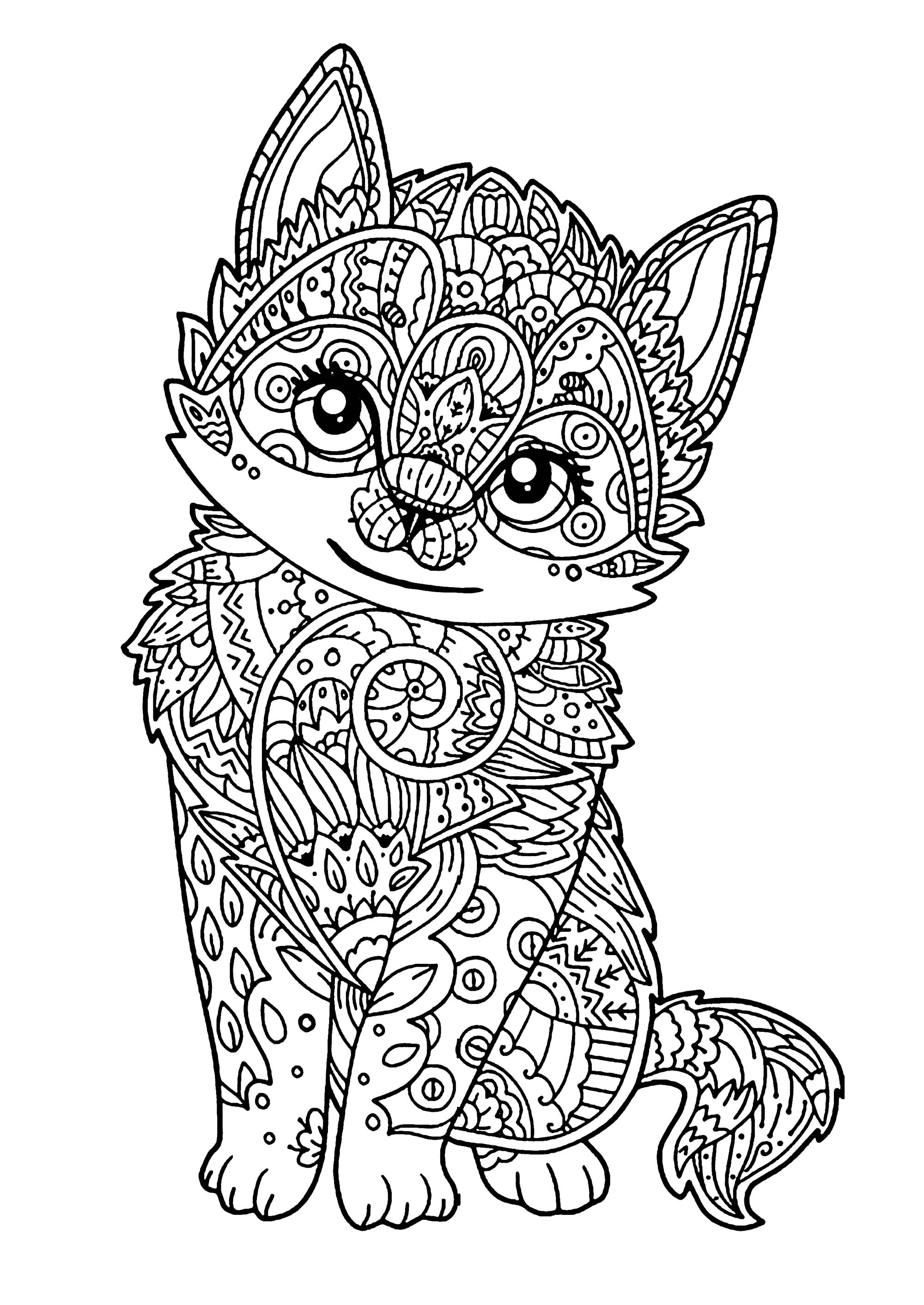 kids coloring pages kitten cat free to color for kids wise cat full of details pages kitten kids coloring