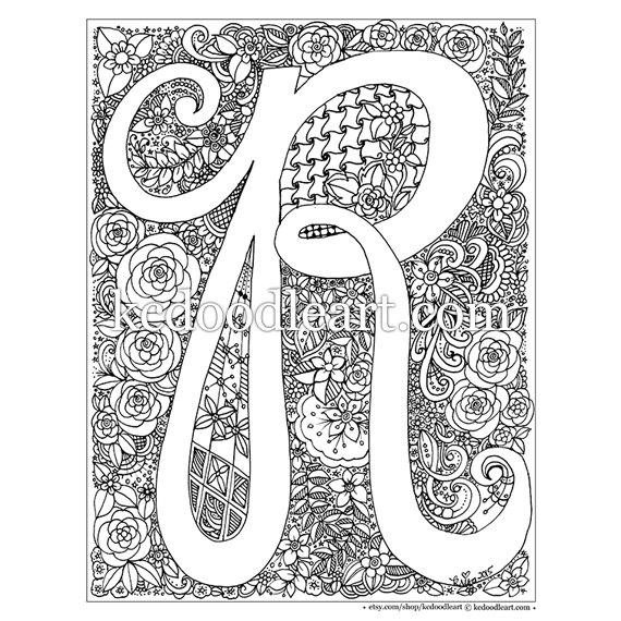 letter r coloring pages for adults hand drawn lettered type with floral treatments letter letter coloring pages adults for r