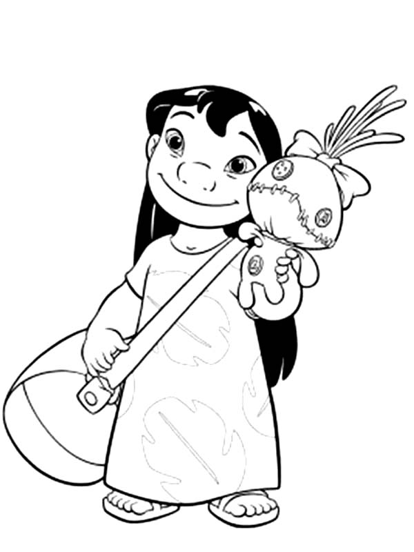 lilo and stitch coloring sheets lilo with bag and a doll in lilo stitch coloring page sheets lilo coloring and stitch