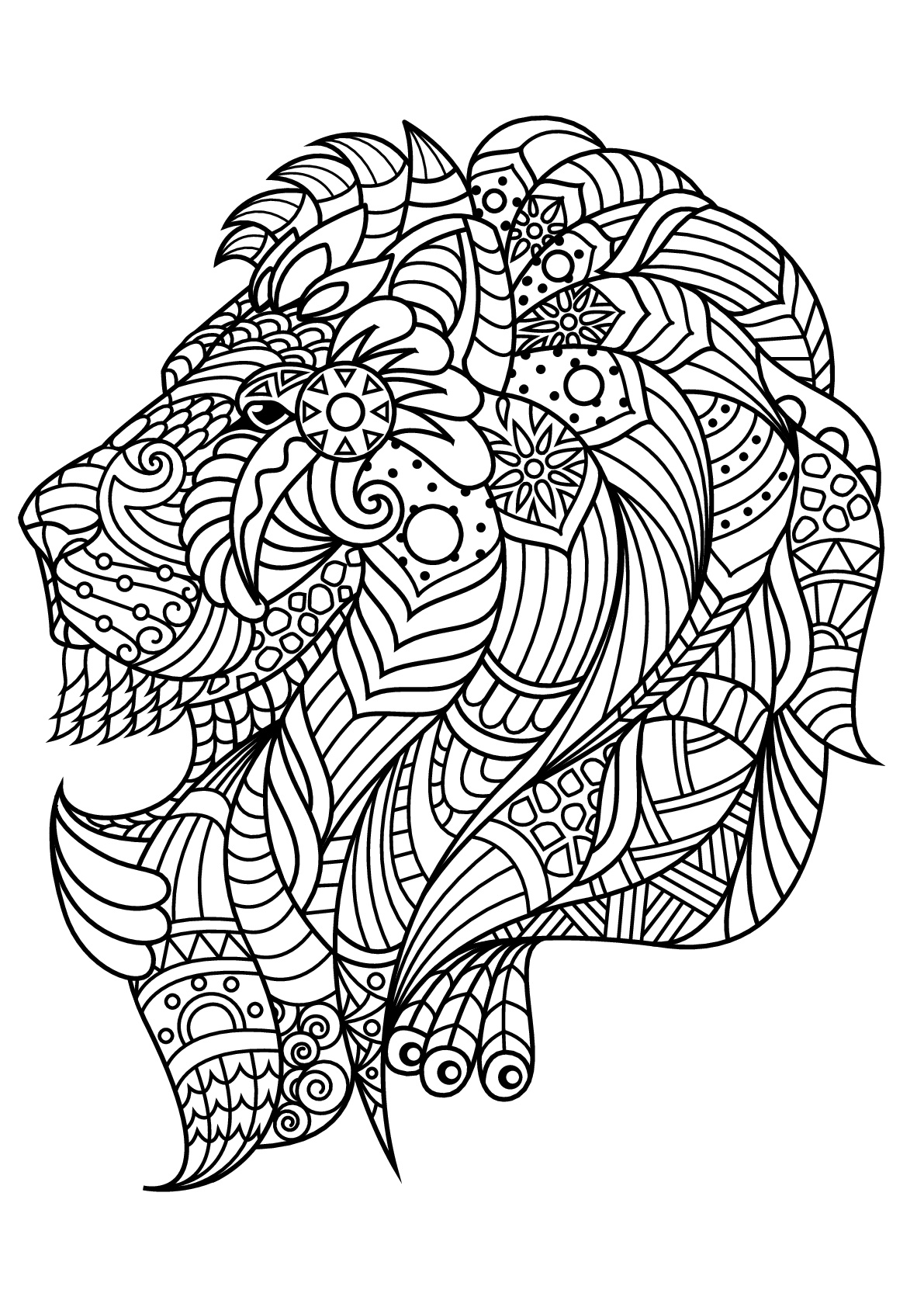lion printable tribal animal coloring pages at getcoloringscom free lion printable