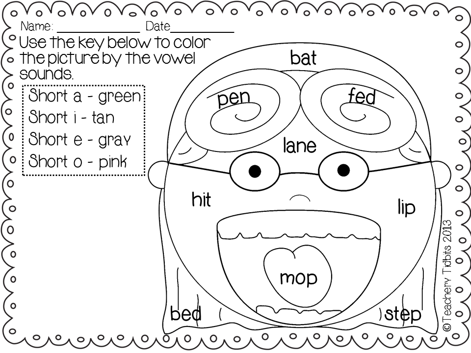 long vowel coloring worksheets long vowel color by number word families by lessons by the worksheets coloring vowel long
