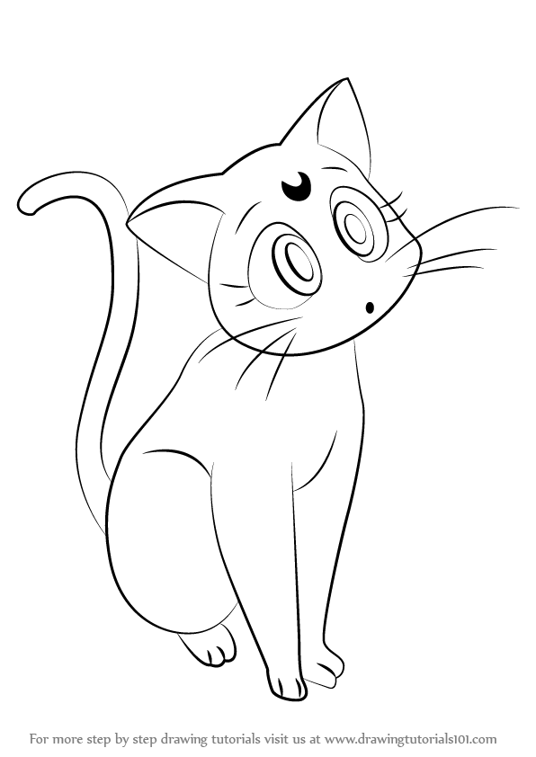 luna draw learn how to draw luna from sailor moon sailor moon step luna draw