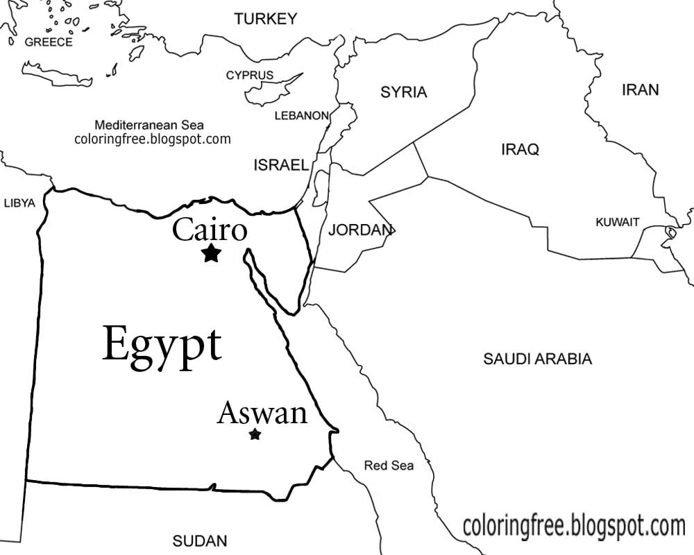 map of egypt coloring page egypt map drawing at getdrawings free download coloring map egypt of page