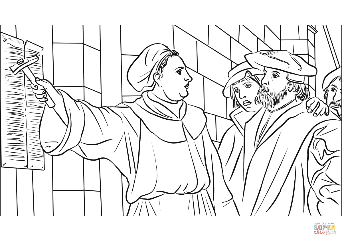 martin luther coloring page martin luther 95 theses coloring page free printable coloring martin page luther