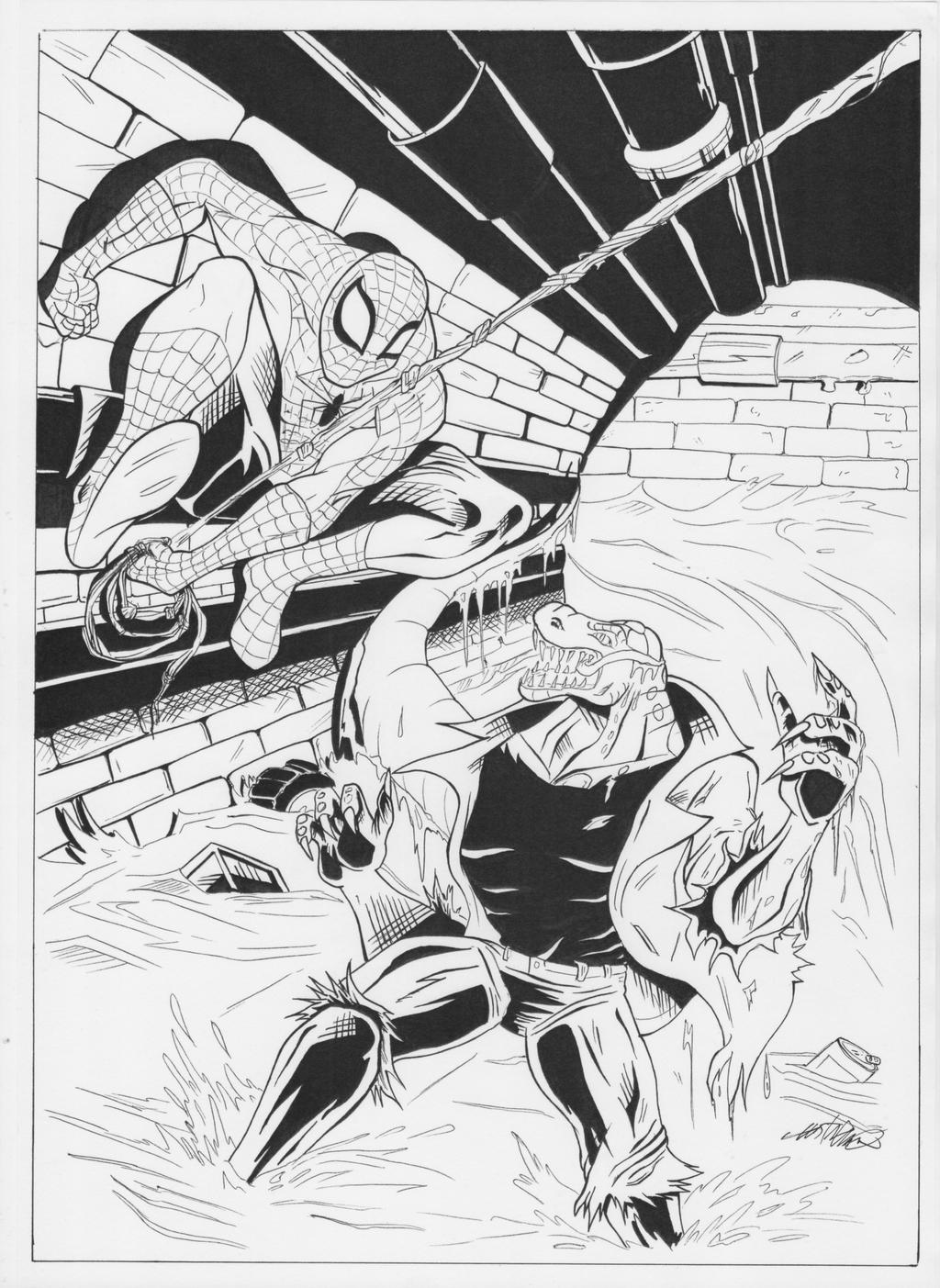 marvel lizard coloring pages spider man vs lizard ink by gustavoliveira on deviantart marvel pages lizard coloring