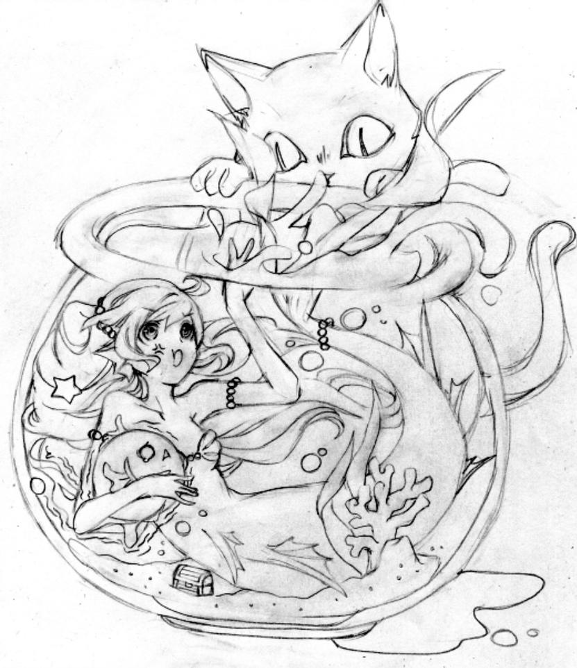 mermaid kitten coloring pages coloring page mermaid by catqueenofpluto on deviantart coloring pages kitten mermaid