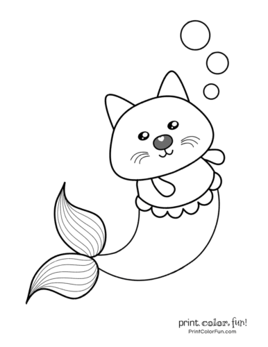 mermaid kitten coloring pages free coloring pages printable pictures to color kids and kitten mermaid coloring pages