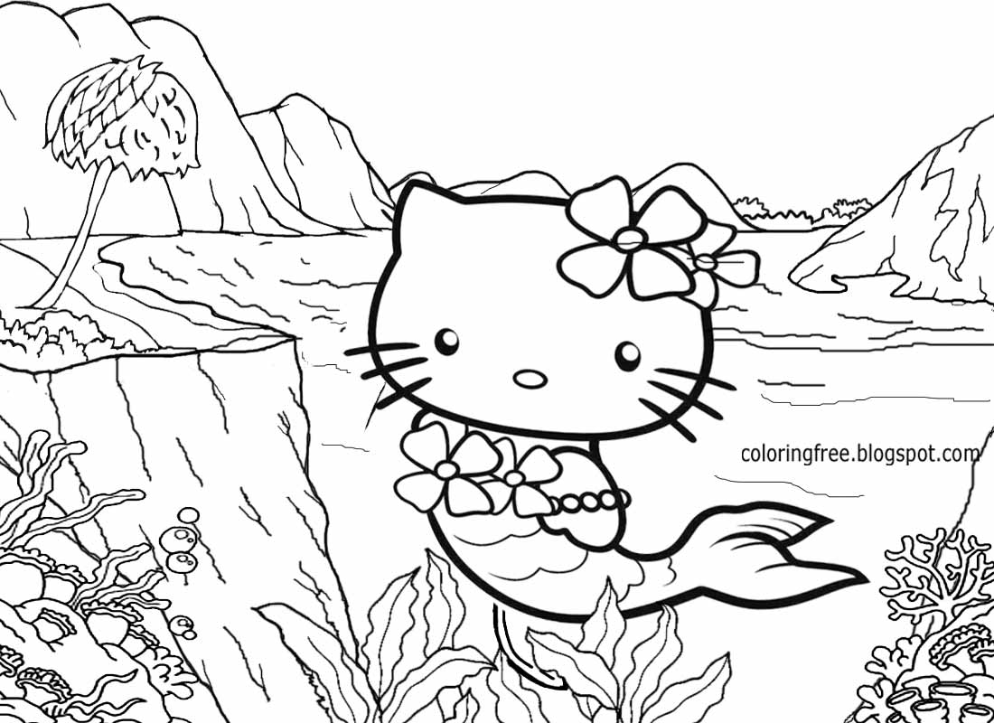 mermaid kitten coloring pages hello kitty mermaid coloring pages free print learn to color kitten mermaid coloring pages