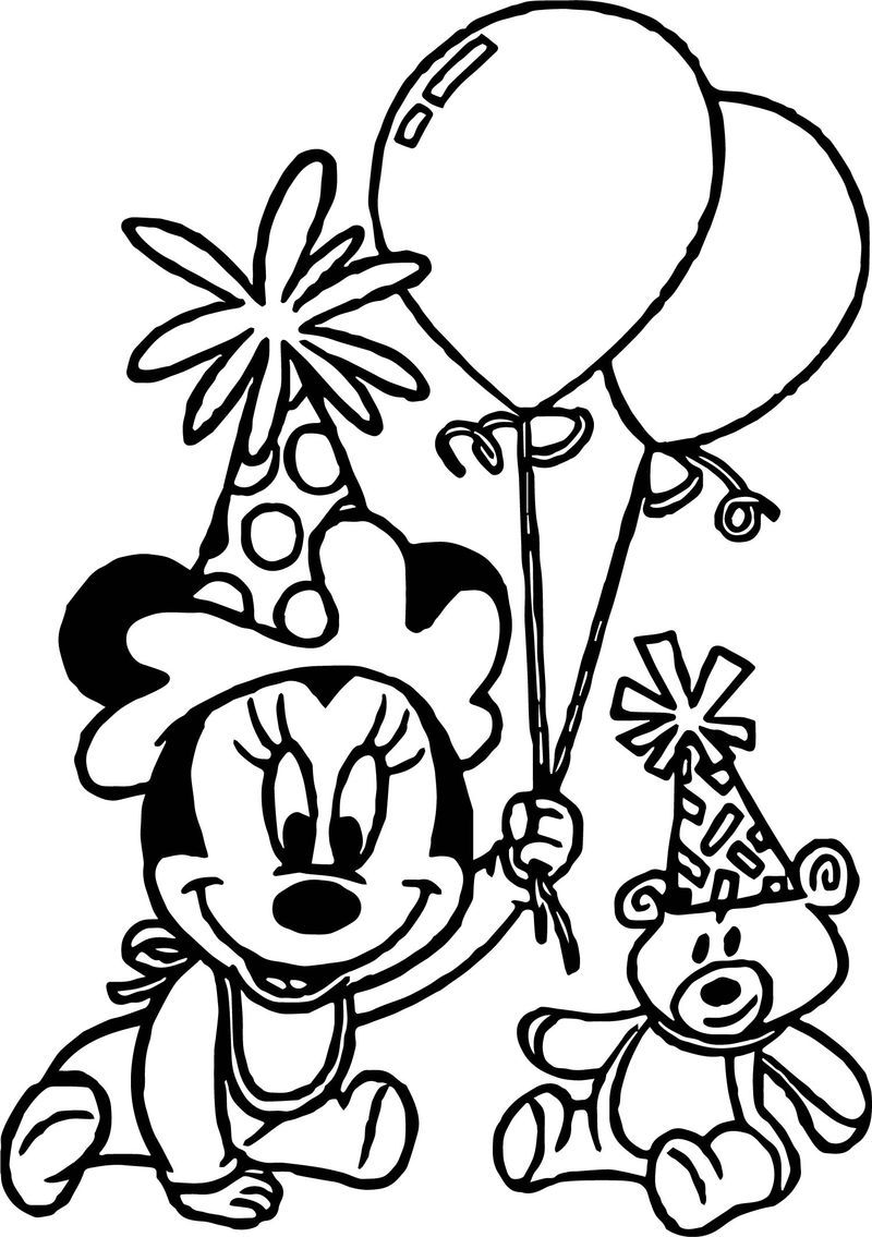 minnie mouse coloring pages birthday 7 best images of 1st birthday coloring card printable birthday minnie pages mouse coloring