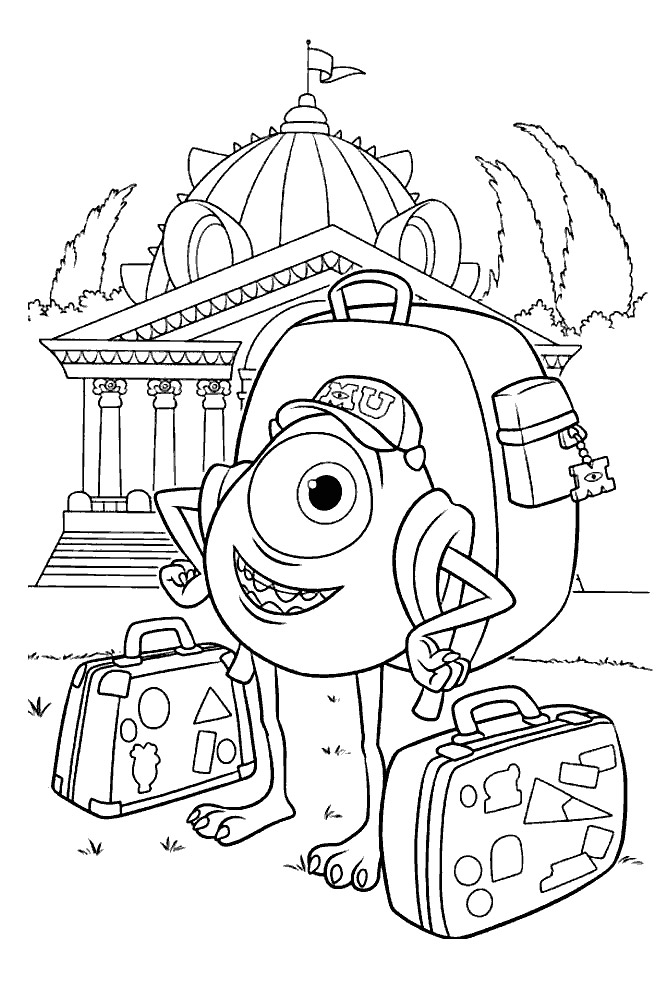 monsters inc coloring mike wazowski the main character in monsters inc coloring coloring monsters inc
