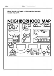 neighborhood map coloring page my community places book twisty noodle neighborhood coloring map page