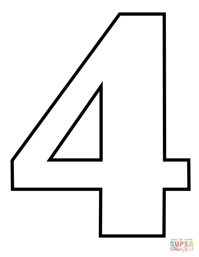 number 4 coloring pattern number 4 coloring pages for kids counting numbers coloring 4 number