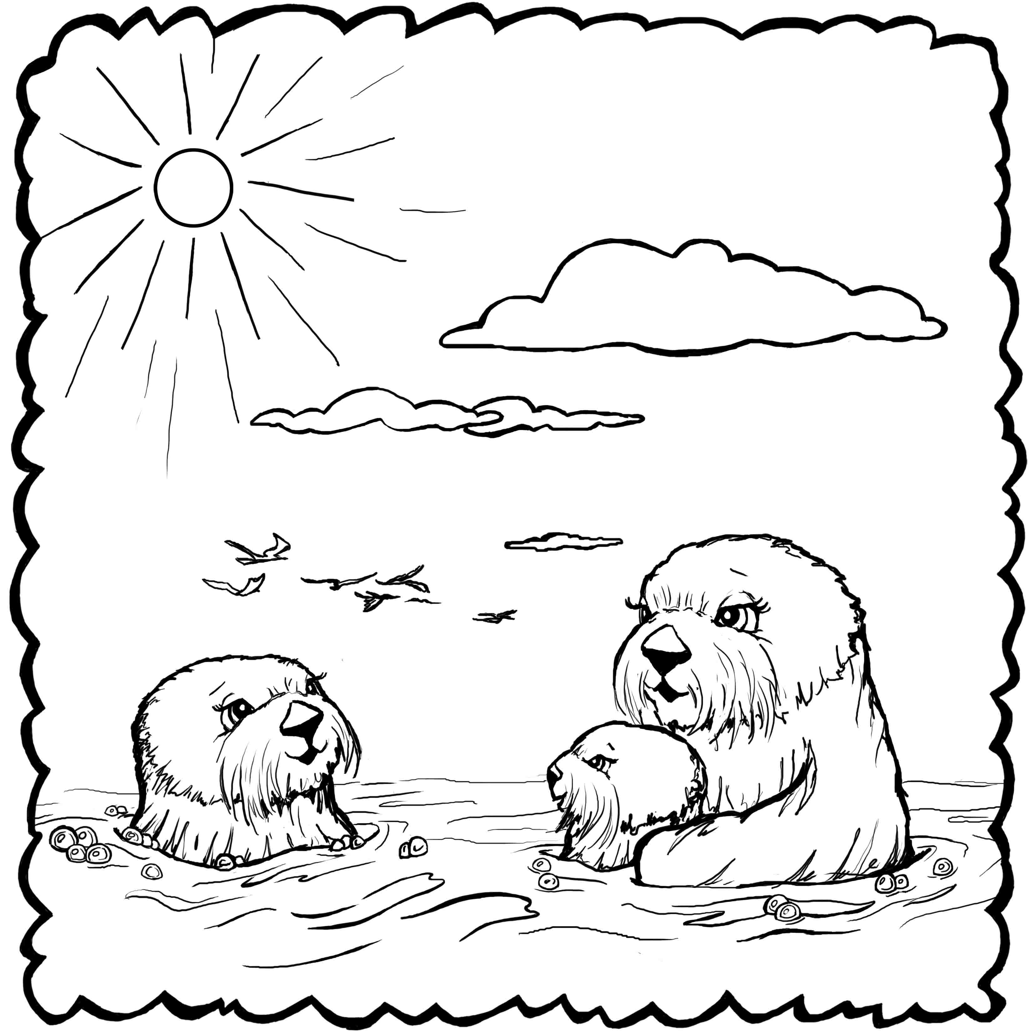 otter coloring page coloring pages josh the otter coloring page otter