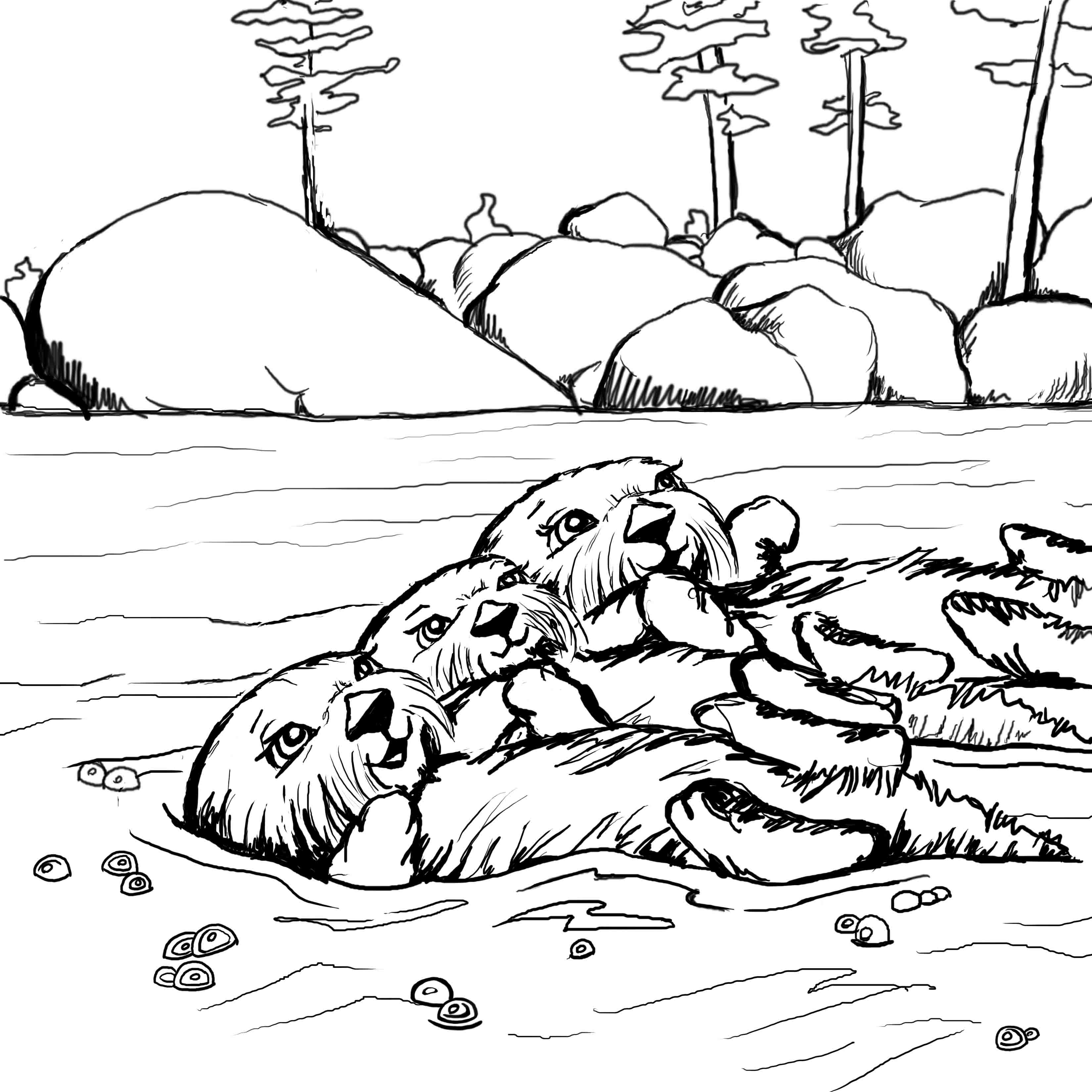 otter coloring page coloring pages josh the otter page otter coloring