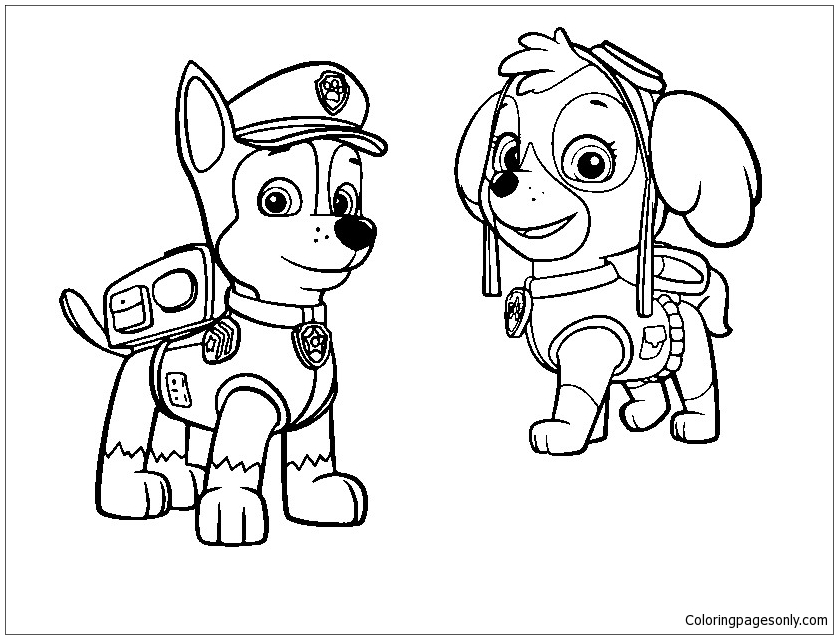 paw patrol chase coloring chase from paw patrol 2 coloring page ausmalbilder chase coloring patrol paw