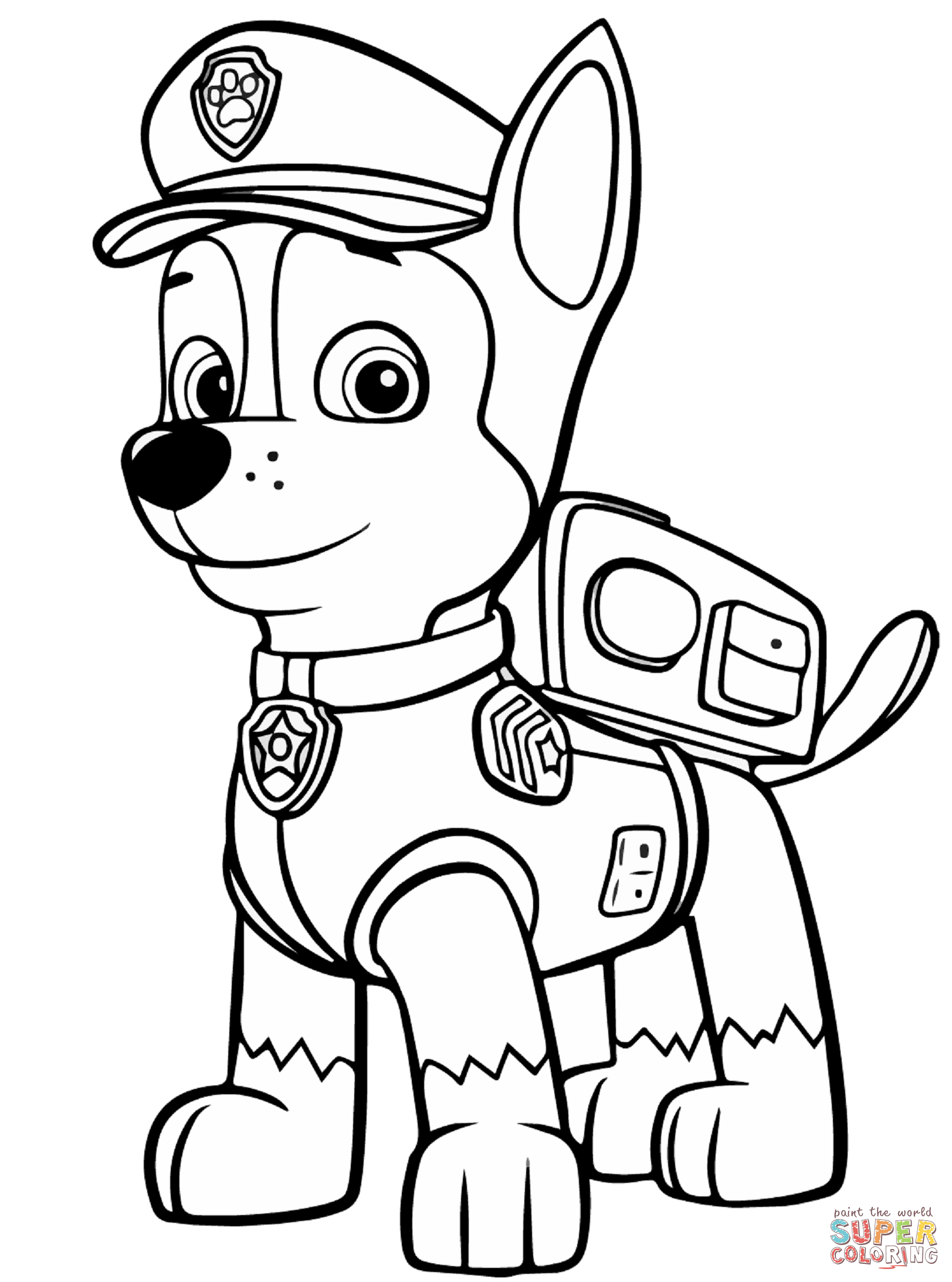 paw patrol chase coloring chase paw patrol coloring pages to download and print for free chase paw coloring patrol