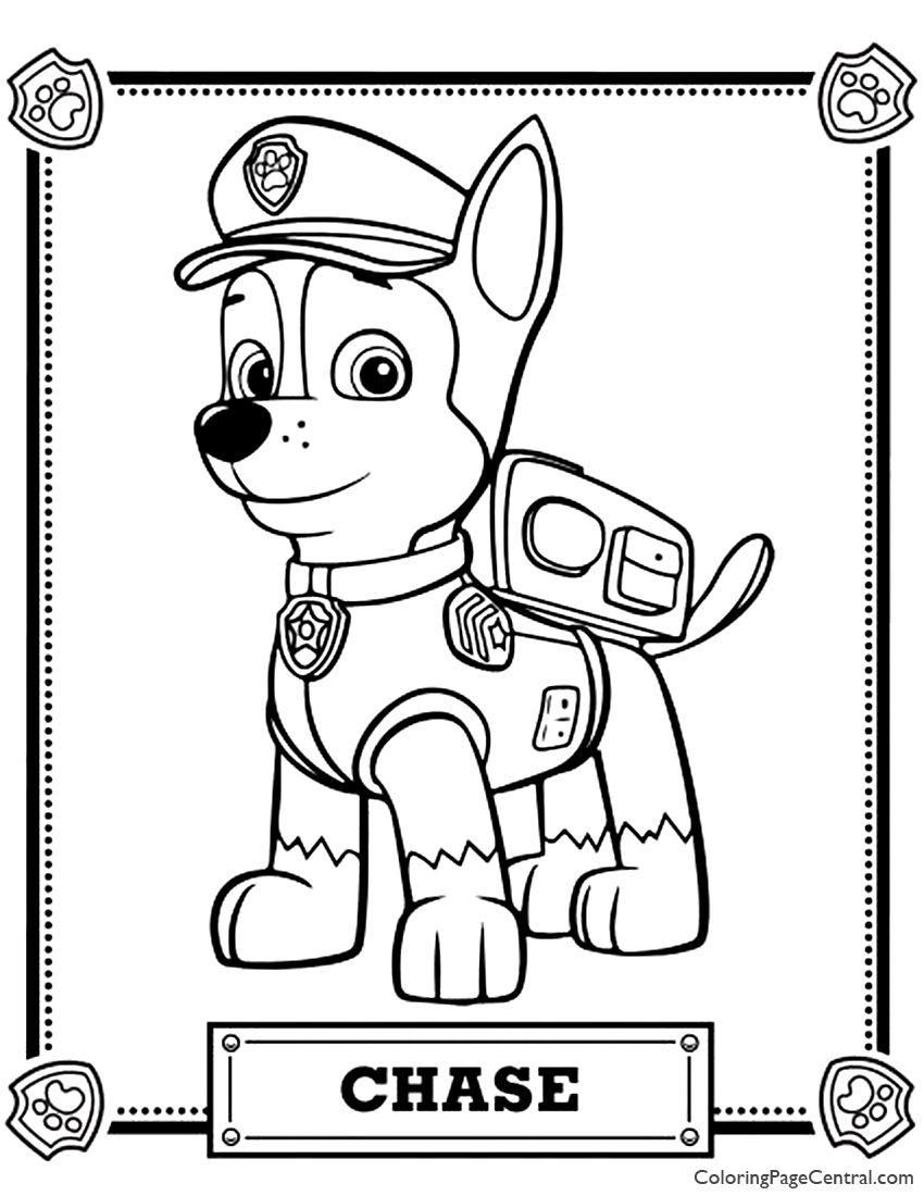 paw patrol chase coloring page chase from paw patrol 2 coloring page free coloring coloring paw patrol page chase