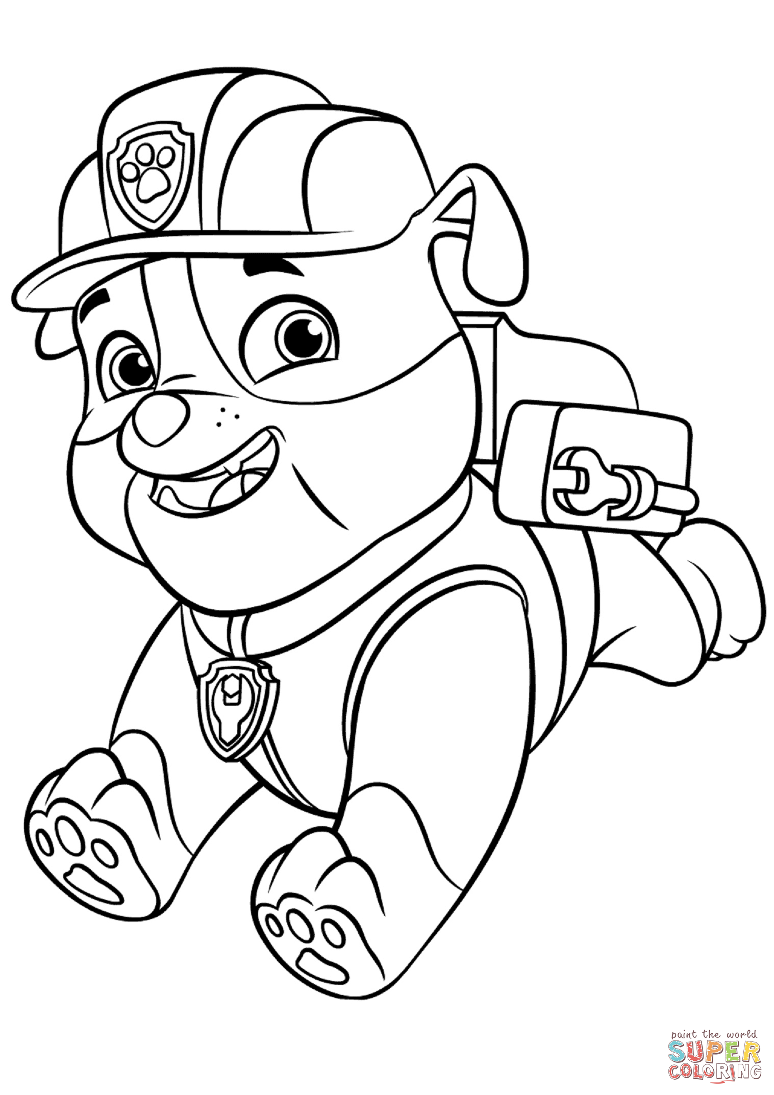 paw patrol coloring outline paw patrol rubble with backpack coloring page free coloring patrol paw outline