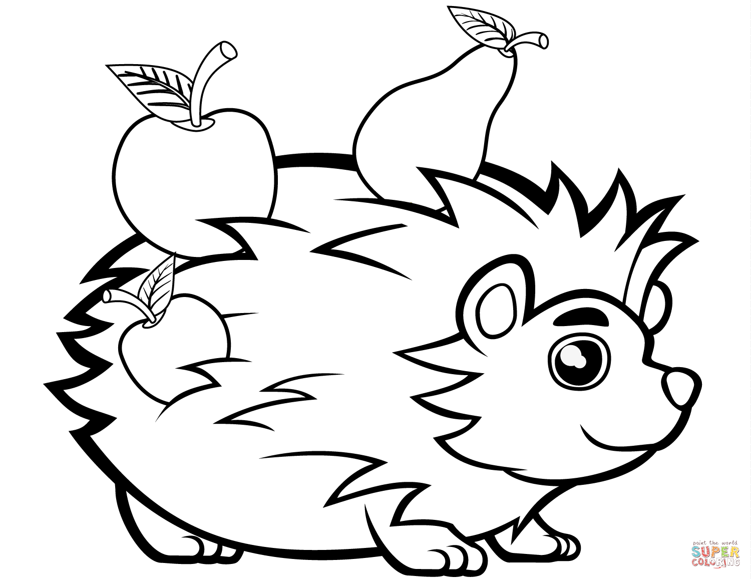 pictures of hedgehogs to colour cute hedgehog with fruits coloring page free printable hedgehogs of to pictures colour