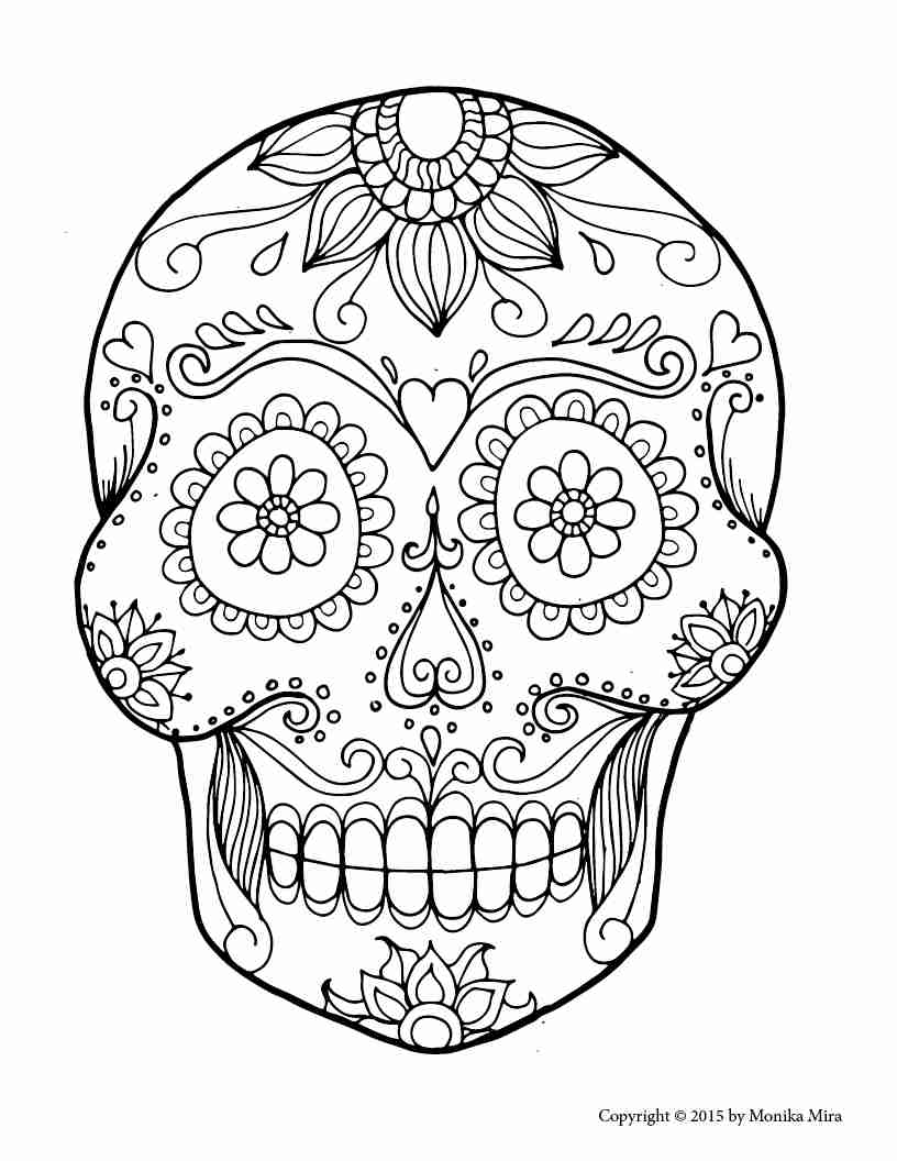 pictures of skulls to color free printable skull coloring pages for kids to of pictures skulls color