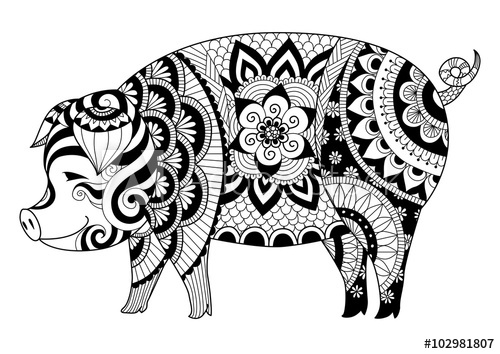 pig mandala coloring pages adult coloring pagebook a pigzen art style pigs coloring pig pages mandala