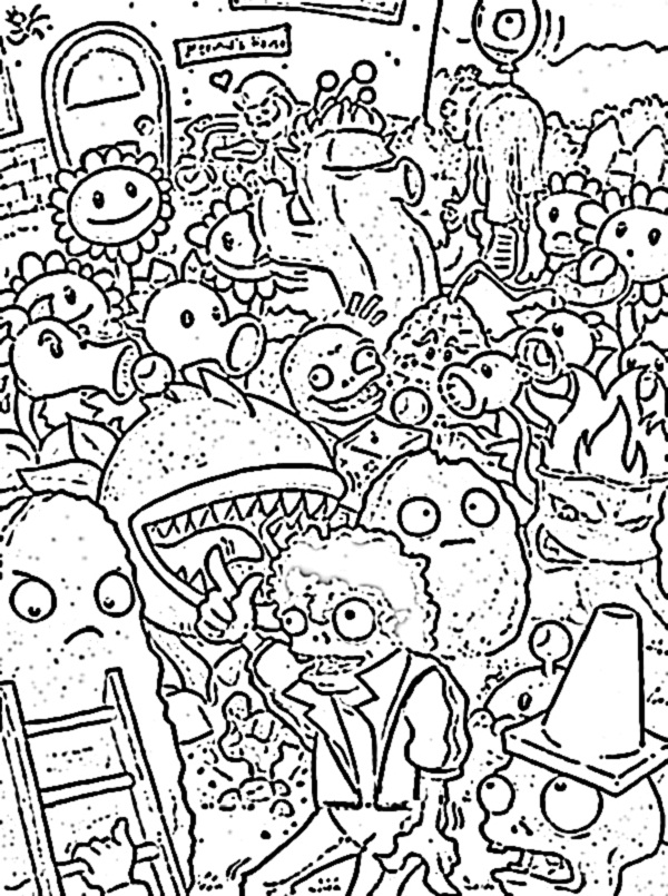 plants versus zombies coloring pages planting sunflower in plant vs zombie coloring page plants coloring versus zombies pages