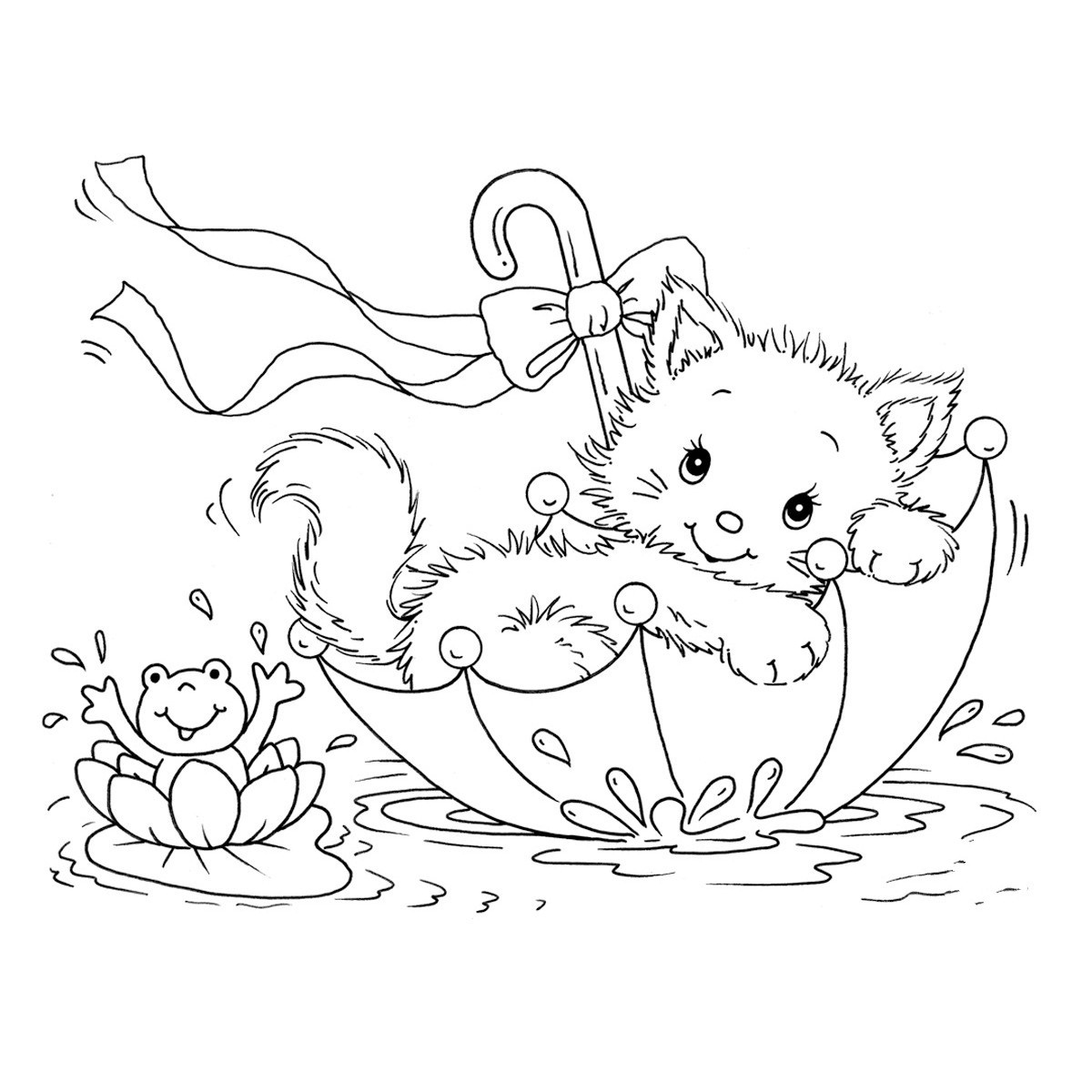 printable cats cute cat with flowers coloring page free printable cats printable