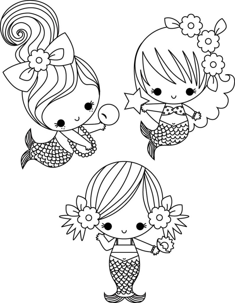printable little mermaid coloring pages the little mermaid cute kawaii resources printable mermaid little coloring pages