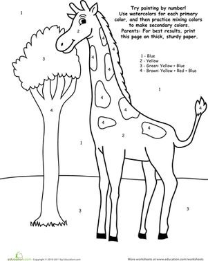 printable pictures to paint for kids watercolor paint by number giraffe five in a row fiar for kids paint printable to pictures