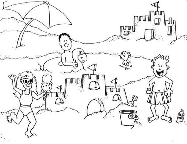 printable sand castle coloring page family vacation on beach and making sand castle coloring printable page sand coloring castle