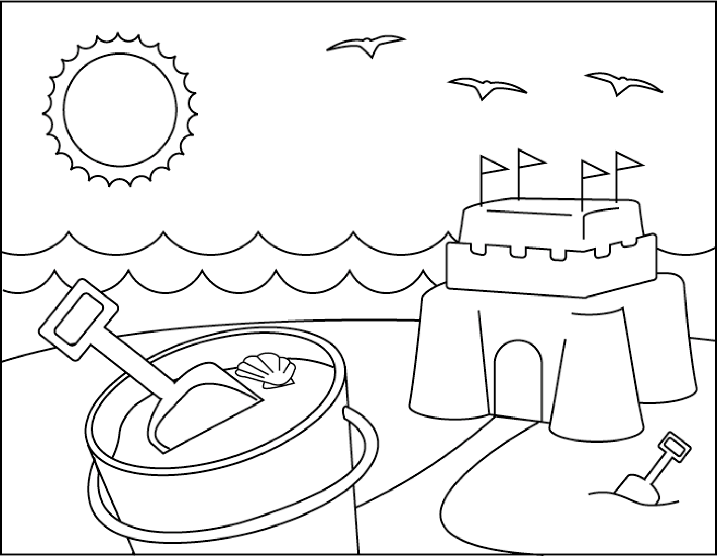 printable sand castle coloring page sand castle on beach summer coloring picture for kids printable page sand castle coloring
