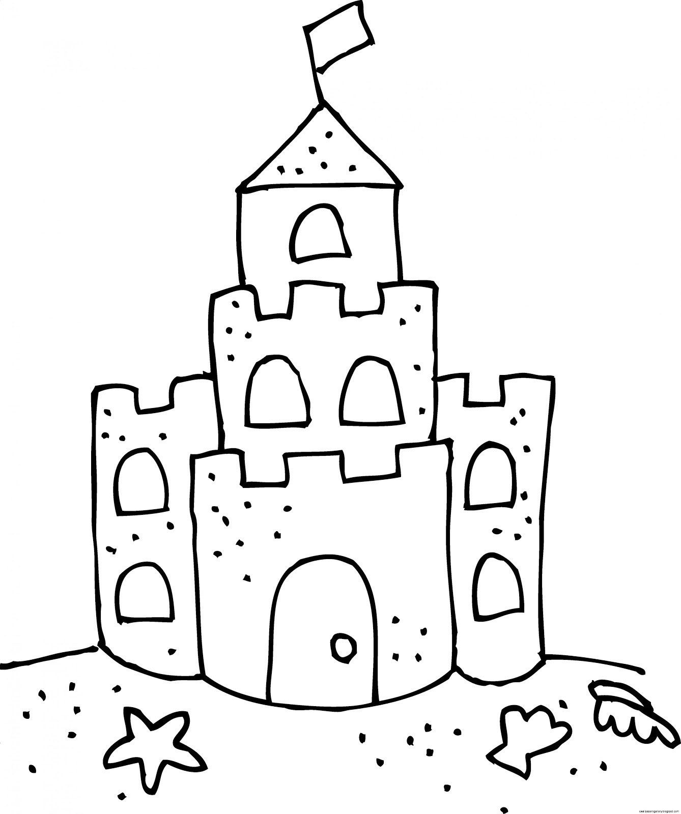 printable sand castle coloring page sand castle with bucket and shovel coloring page sand coloring printable page castle