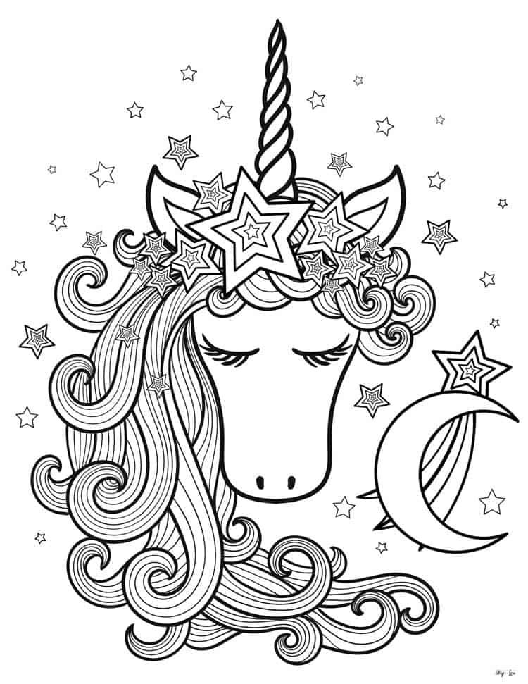 printable unicorn head coloring pages unicorn head sad cartoon line art coloring page buy this head unicorn coloring printable pages