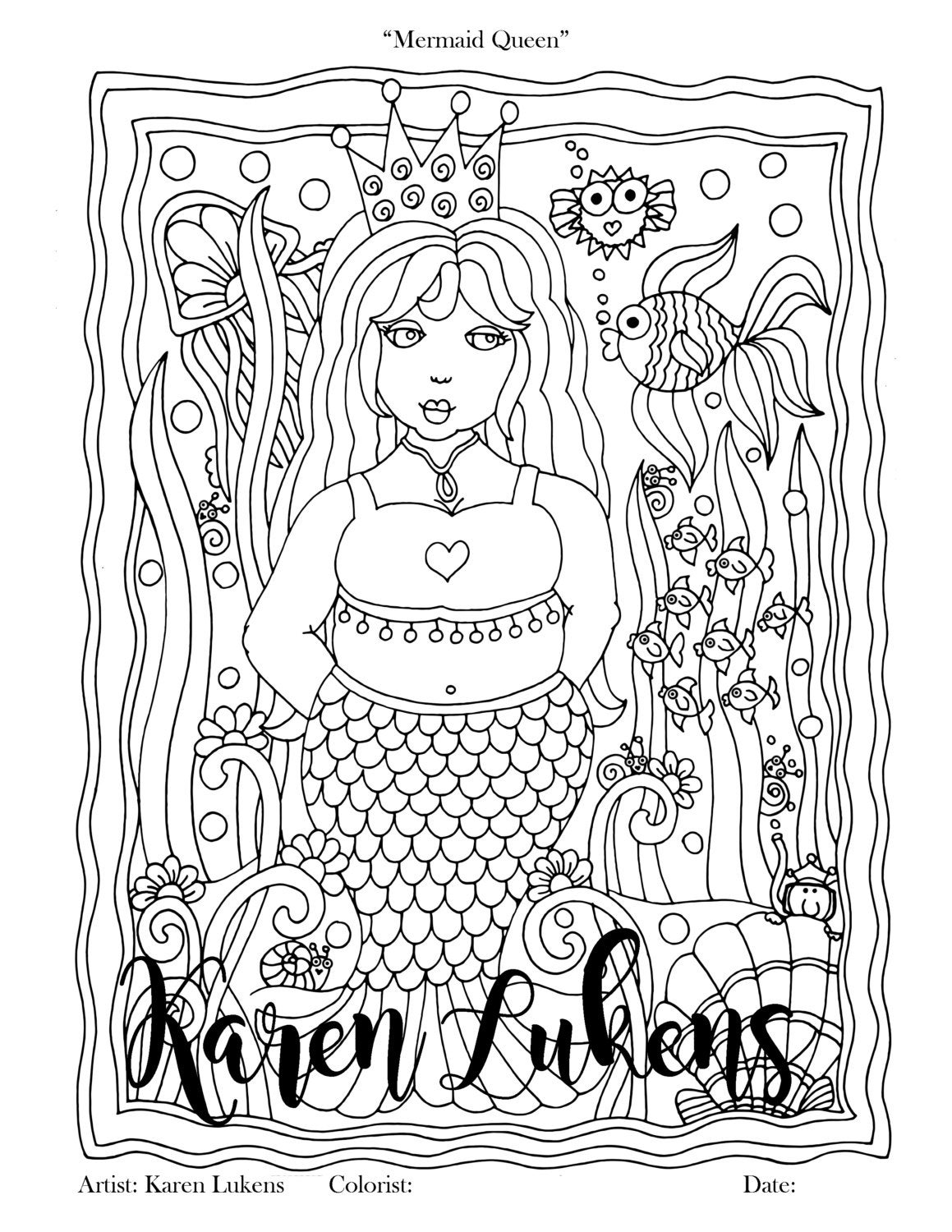 queen mermaid coloring pages mermaid queen 1 adult coloring book page printable instant mermaid pages queen coloring